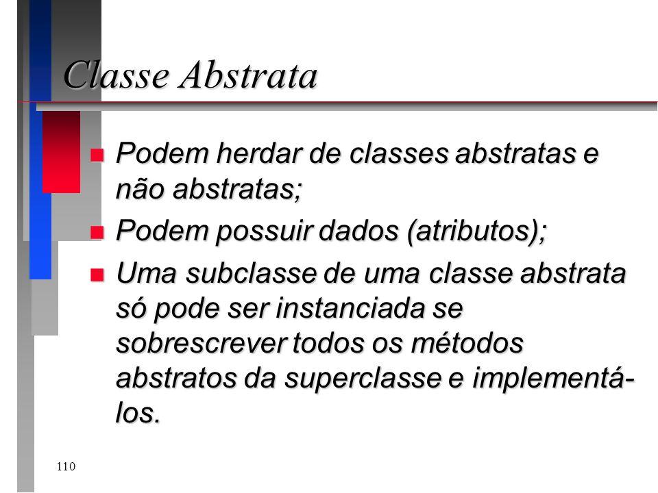 Classe Abstrata Podem herdar de classes abstratas e não abstratas;