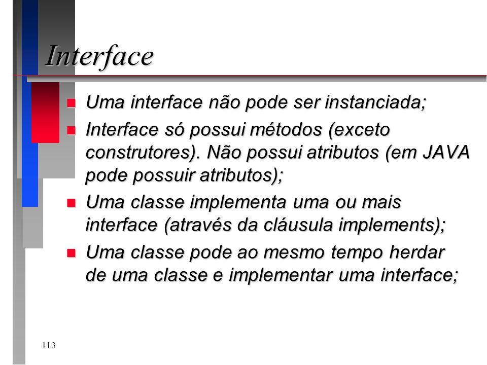 Interface Uma interface não pode ser instanciada;