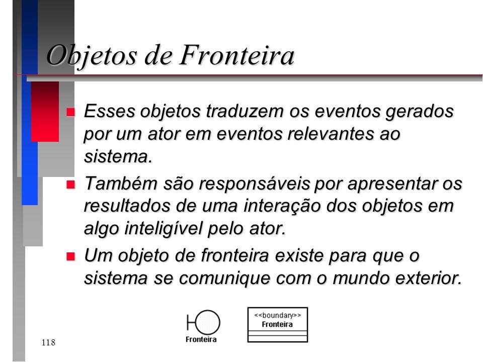 Objetos de Fronteira Esses objetos traduzem os eventos gerados por um ator em eventos relevantes ao sistema.