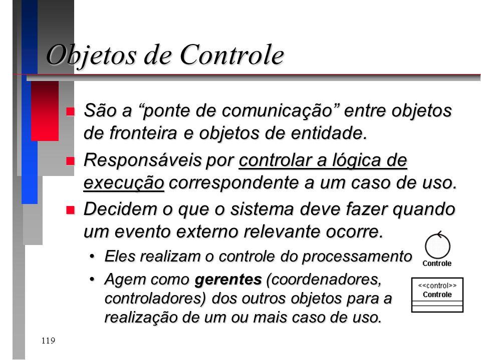 Objetos de Controle São a ponte de comunicação entre objetos de fronteira e objetos de entidade.