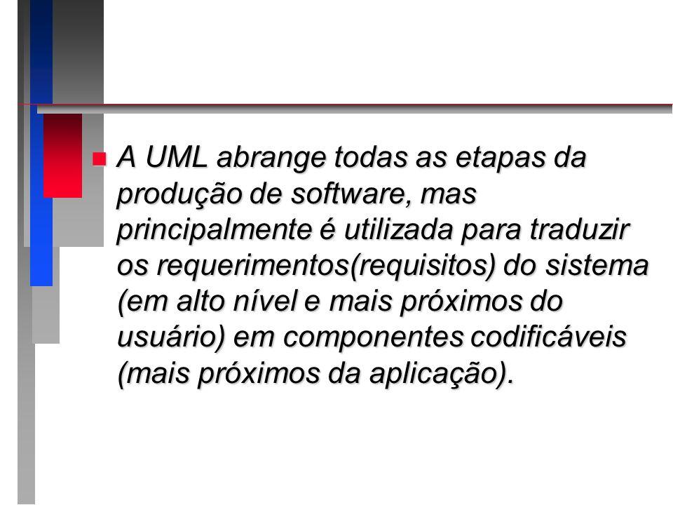 A UML abrange todas as etapas da produção de software, mas principalmente é utilizada para traduzir os requerimentos(requisitos) do sistema (em alto nível e mais próximos do usuário) em componentes codificáveis (mais próximos da aplicação).