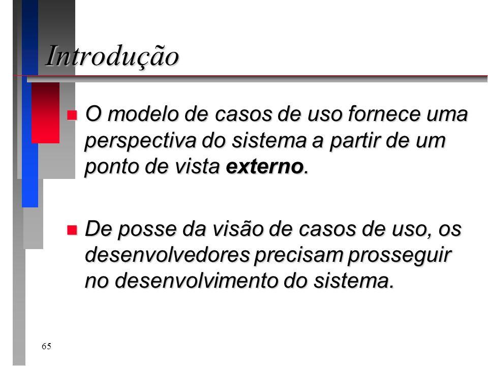 Introdução O modelo de casos de uso fornece uma perspectiva do sistema a partir de um ponto de vista externo.