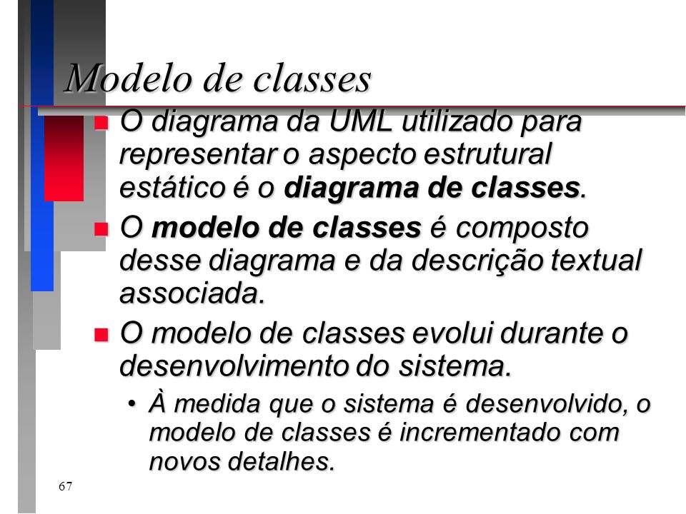 Modelo de classes O diagrama da UML utilizado para representar o aspecto estrutural estático é o diagrama de classes.