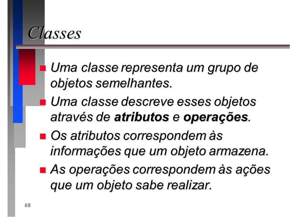 Classes Uma classe representa um grupo de objetos semelhantes.
