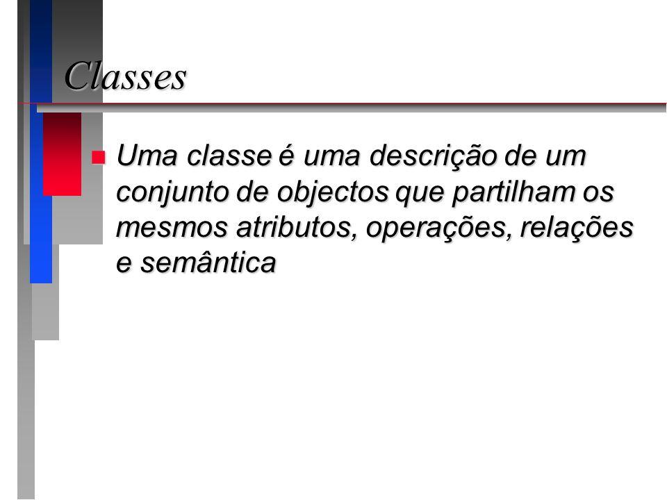 Classes Uma classe é uma descrição de um conjunto de objectos que partilham os mesmos atributos, operações, relações e semântica.
