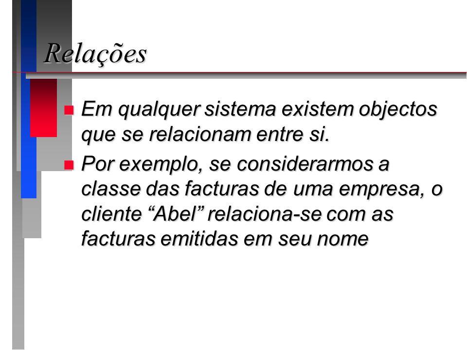 Relações Em qualquer sistema existem objectos que se relacionam entre si.