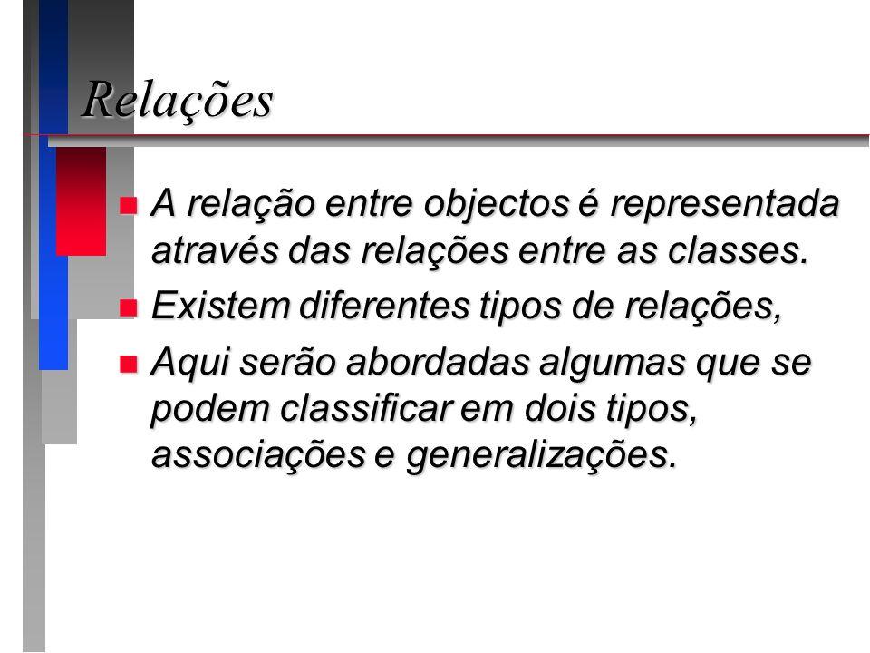 Relações A relação entre objectos é representada através das relações entre as classes. Existem diferentes tipos de relações,
