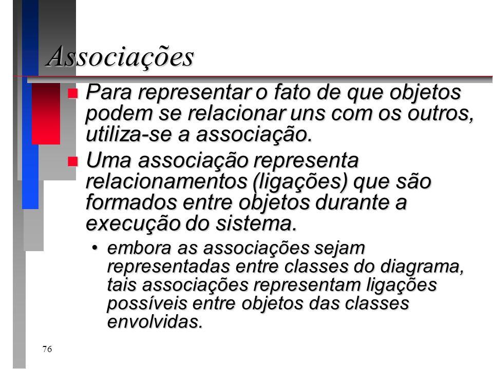 Associações Para representar o fato de que objetos podem se relacionar uns com os outros, utiliza-se a associação.