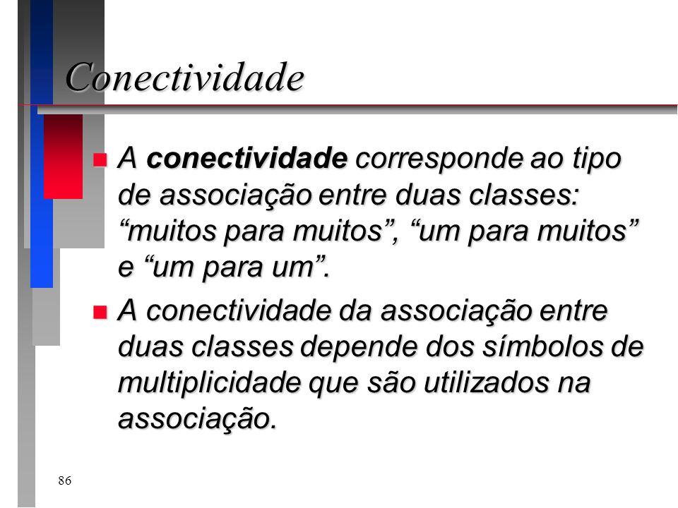 ConectividadeA conectividade corresponde ao tipo de associação entre duas classes: muitos para muitos , um para muitos e um para um .
