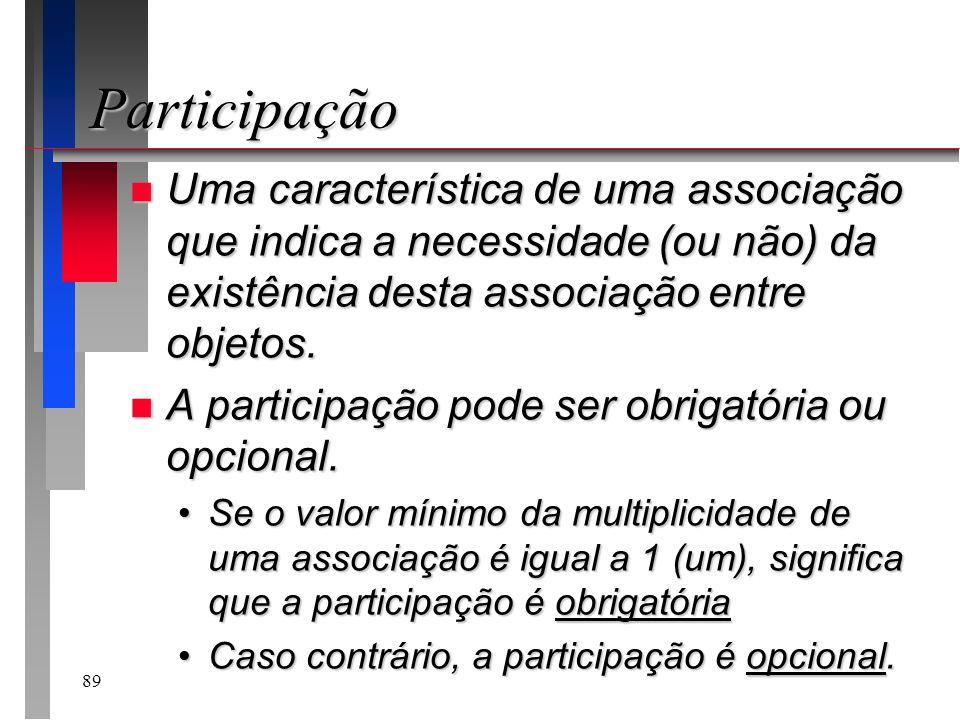 ParticipaçãoUma característica de uma associação que indica a necessidade (ou não) da existência desta associação entre objetos.