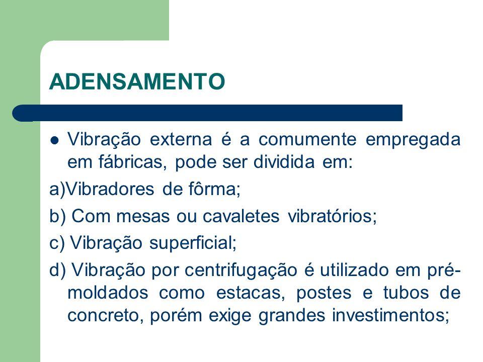 ADENSAMENTO Vibração externa é a comumente empregada em fábricas, pode ser dividida em: a)Vibradores de fôrma;