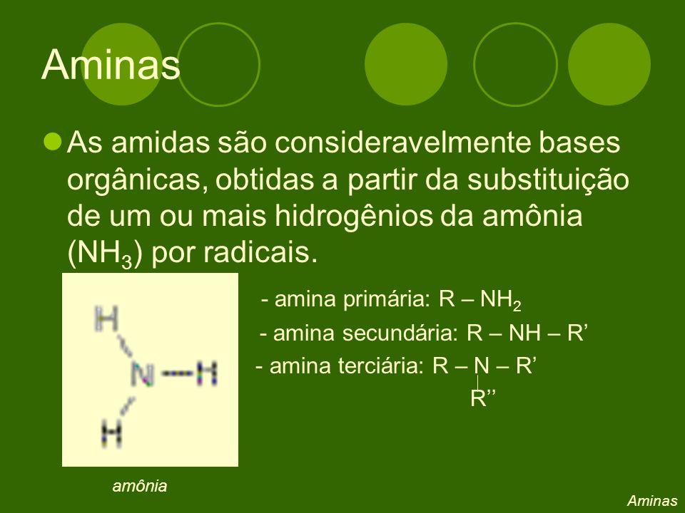 Aminas As amidas são consideravelmente bases orgânicas, obtidas a partir da substituição de um ou mais hidrogênios da amônia (NH3) por radicais.