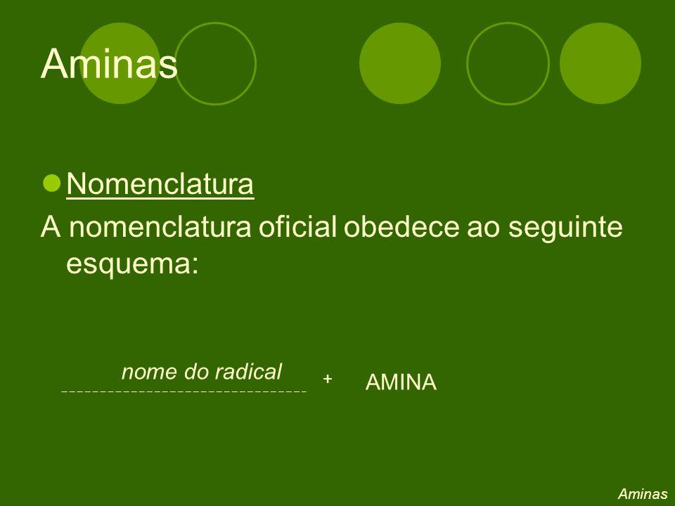 Aminas Nomenclatura. A nomenclatura oficial obedece ao seguinte esquema: nome do radical. + AMINA.