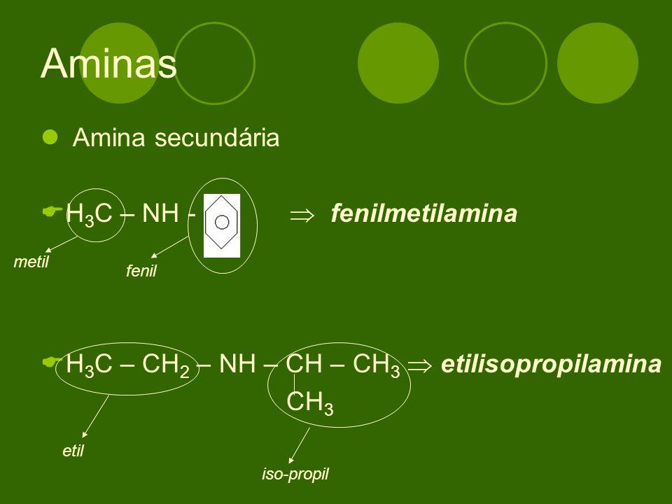 Aminas Amina secundária H3C – NH -  fenilmetilamina
