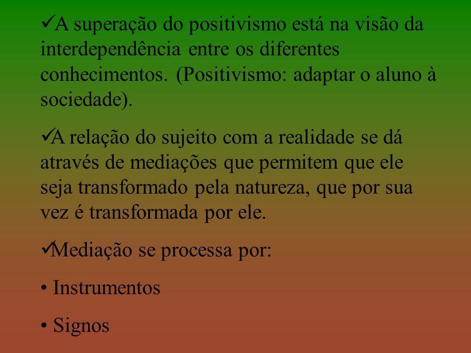 A superação do positivismo está na visão da interdependência entre os diferentes conhecimentos. (Positivismo: adaptar o aluno à sociedade).