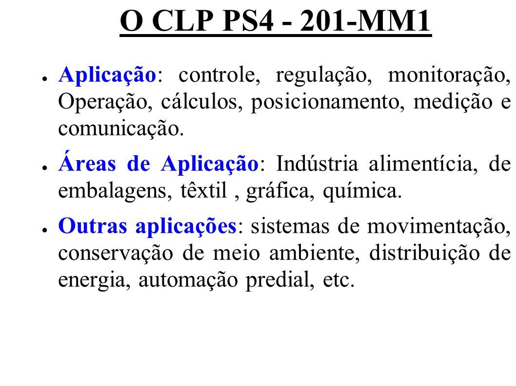 O CLP PS4 - 201-MM1 Aplicação: controle, regulação, monitoração, Operação, cálculos, posicionamento, medição e comunicação.