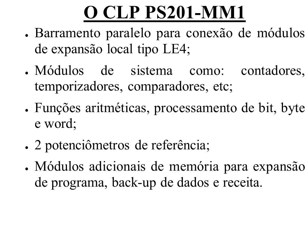 O CLP PS201-MM1 Barramento paralelo para conexão de módulos de expansão local tipo LE4;