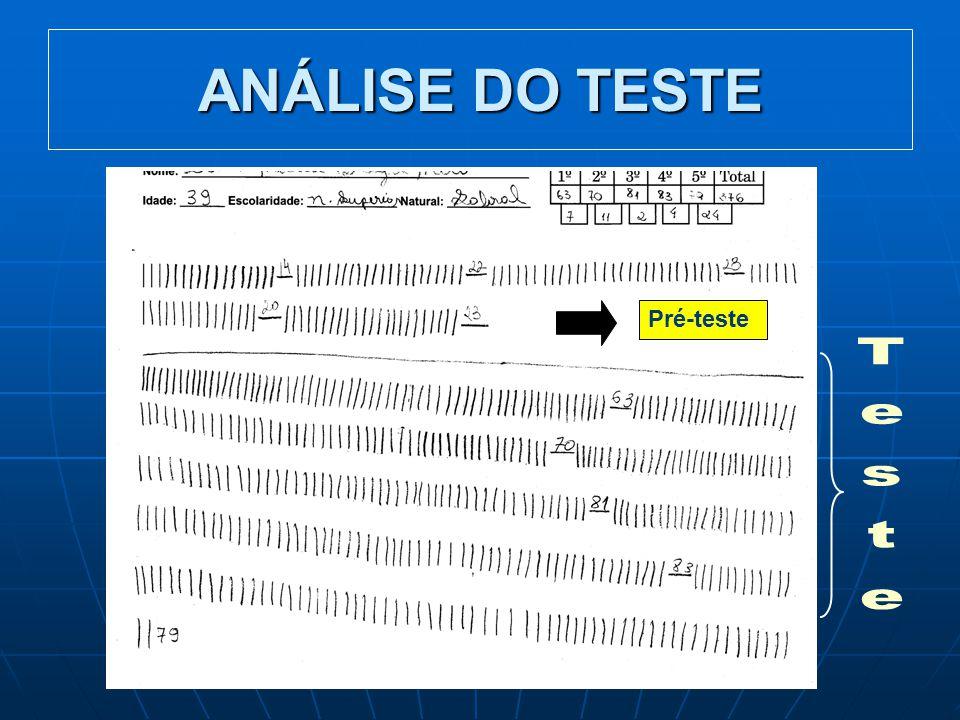 ANÁLISE DO TESTE Pré-teste Teste