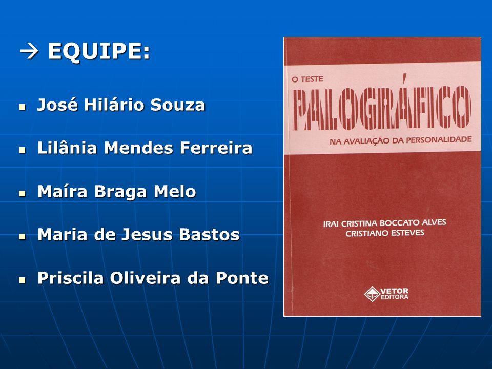  EQUIPE: José Hilário Souza Lilânia Mendes Ferreira Maíra Braga Melo