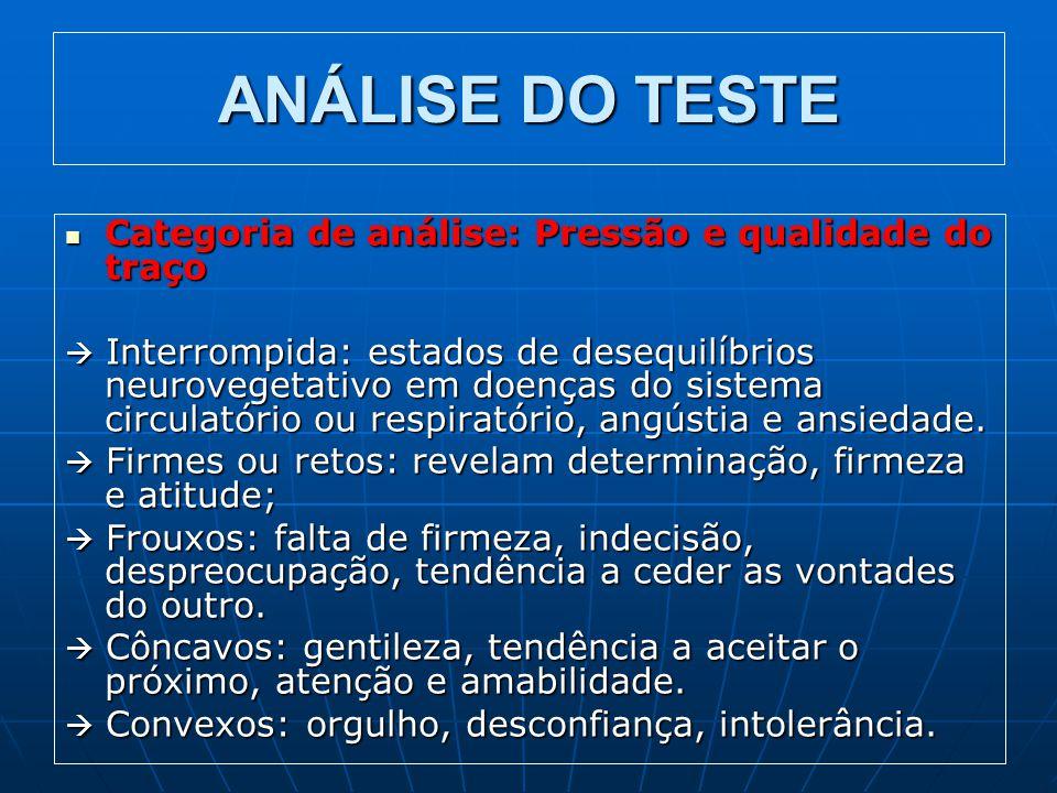 ANÁLISE DO TESTE Categoria de análise: Pressão e qualidade do traço