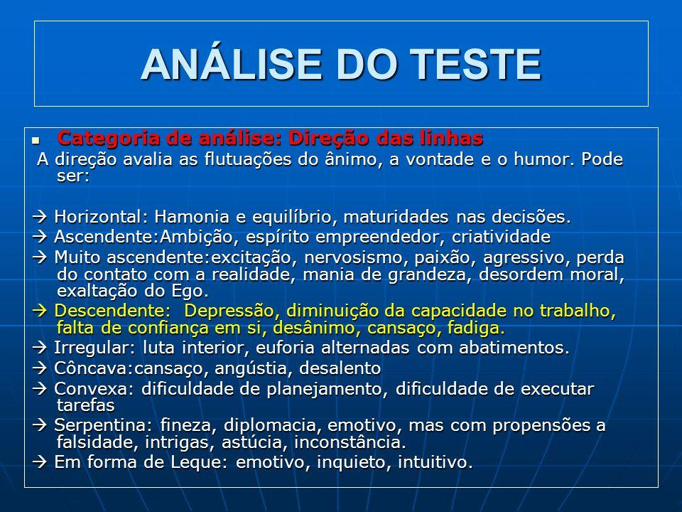 ANÁLISE DO TESTE Categoria de análise: Direção das linhas