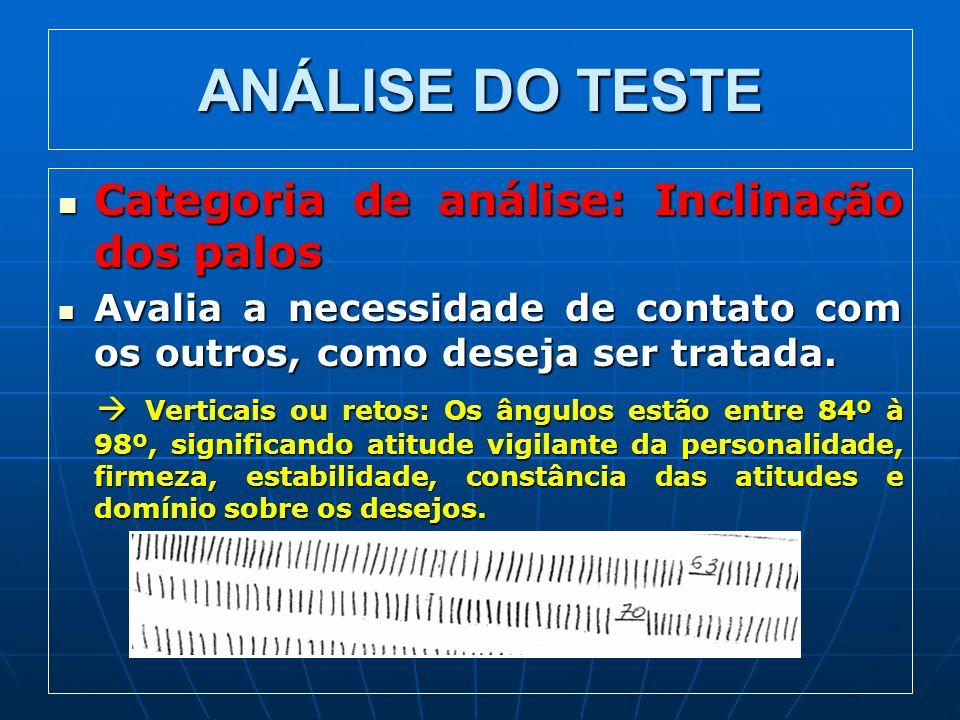 ANÁLISE DO TESTE Categoria de análise: Inclinação dos palos