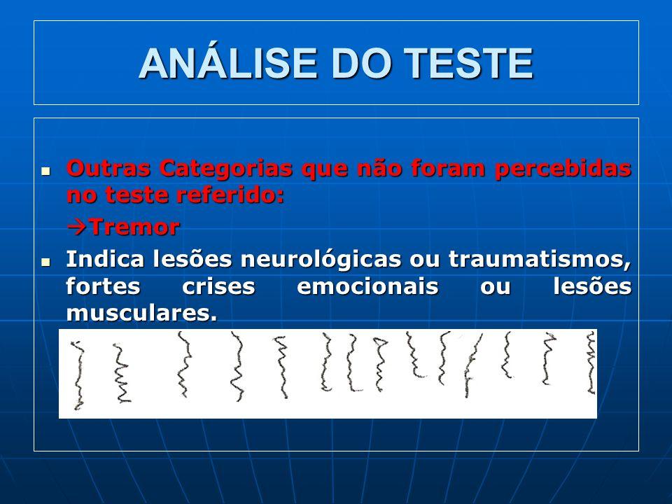 ANÁLISE DO TESTE Outras Categorias que não foram percebidas no teste referido: Tremor.