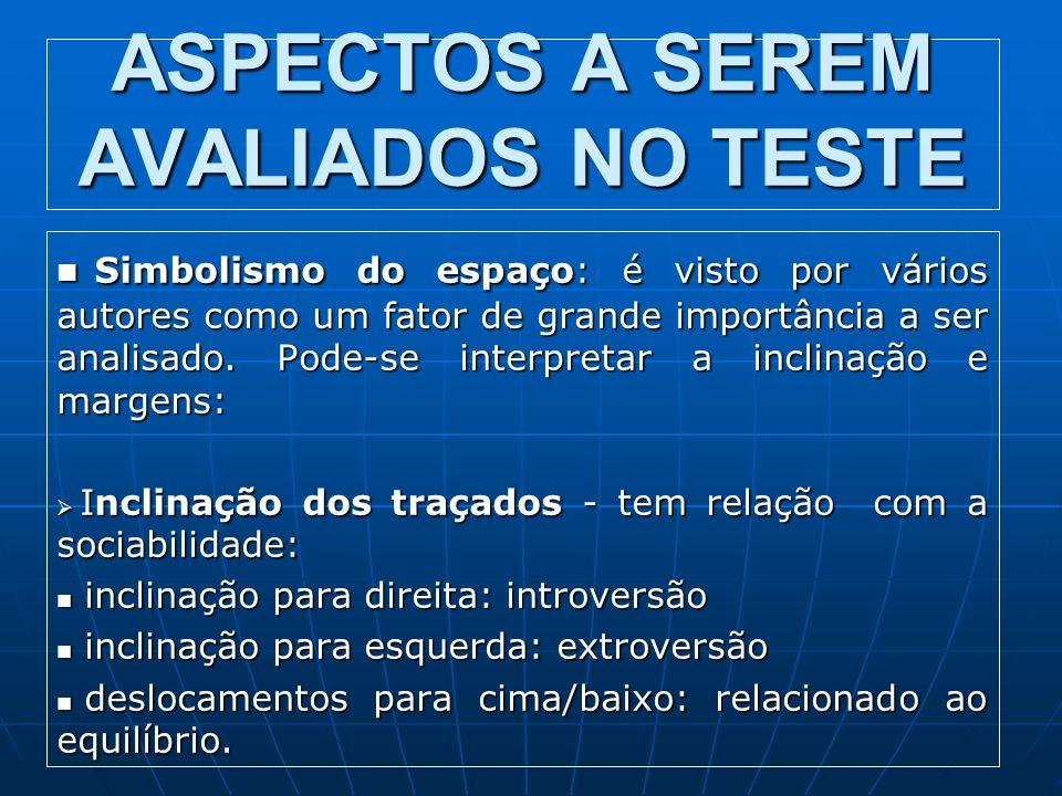 ASPECTOS A SEREM AVALIADOS NO TESTE