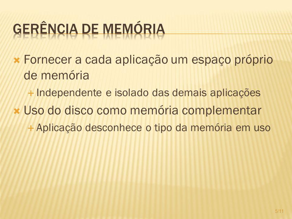 Gerência de Memória Fornecer a cada aplicação um espaço próprio de memória. Independente e isolado das demais aplicações.