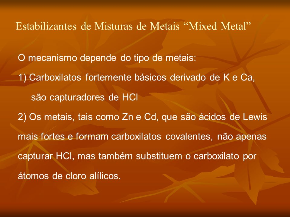 Estabilizantes de Misturas de Metais Mixed Metal