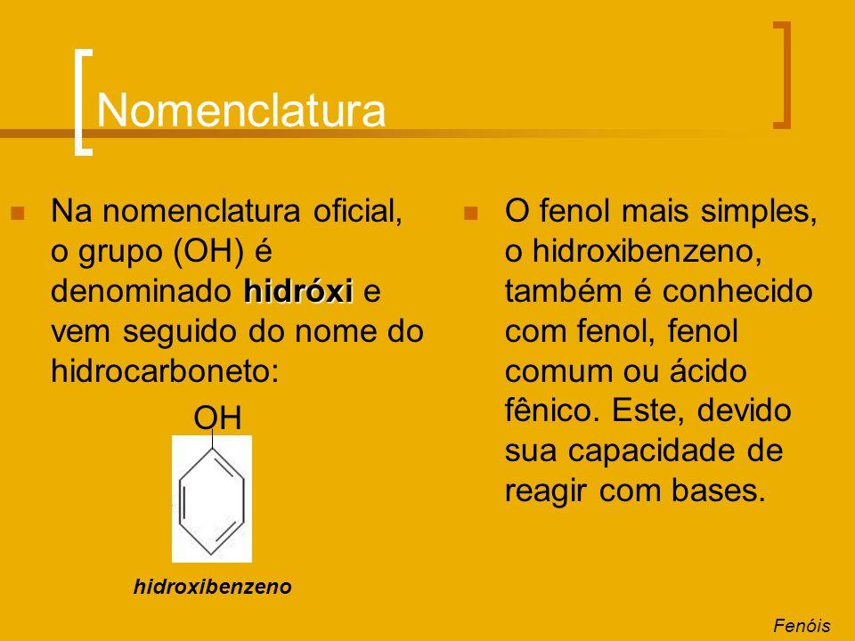 Nomenclatura Na nomenclatura oficial, o grupo (OH) é denominado hidróxi e vem seguido do nome do hidrocarboneto: