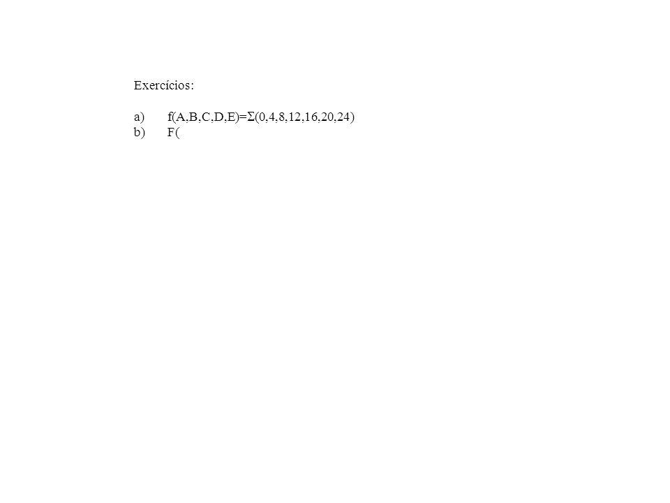 Exercícios: f(A,B,C,D,E)=(0,4,8,12,16,20,24) F(