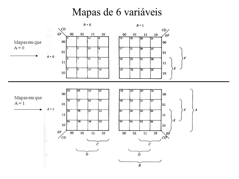 Mapas de 6 variáveis Mapas em que A = 0 Mapas em que A = 1