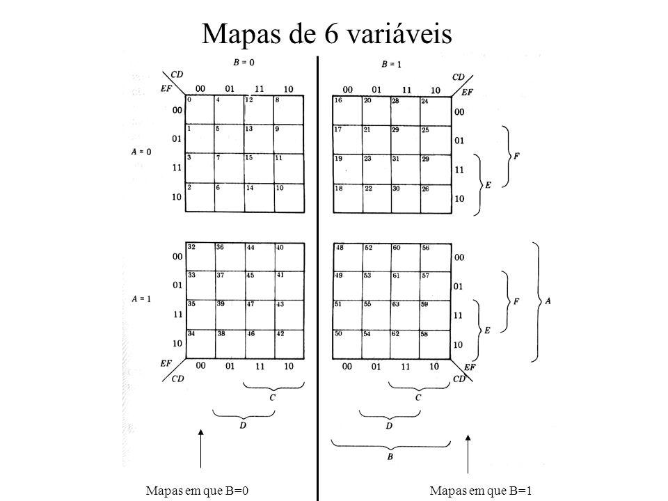 Mapas de 6 variáveis Mapas em que B=0 Mapas em que B=1