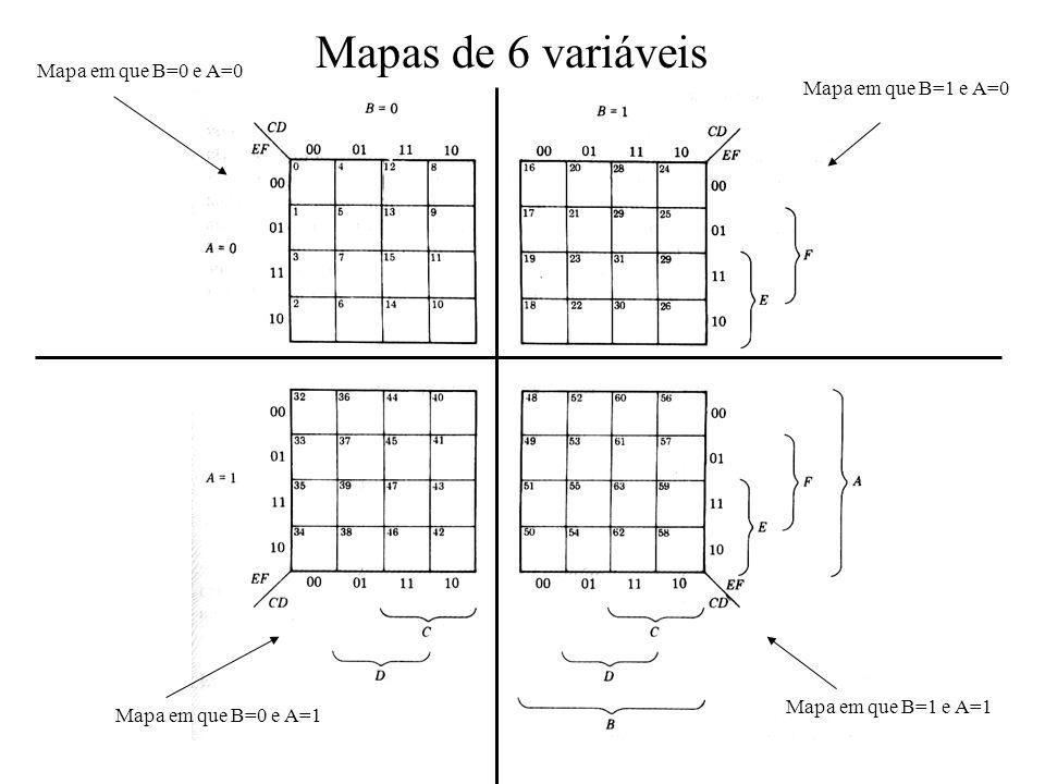 Mapas de 6 variáveis Mapa em que B=0 e A=0 Mapa em que B=1 e A=0