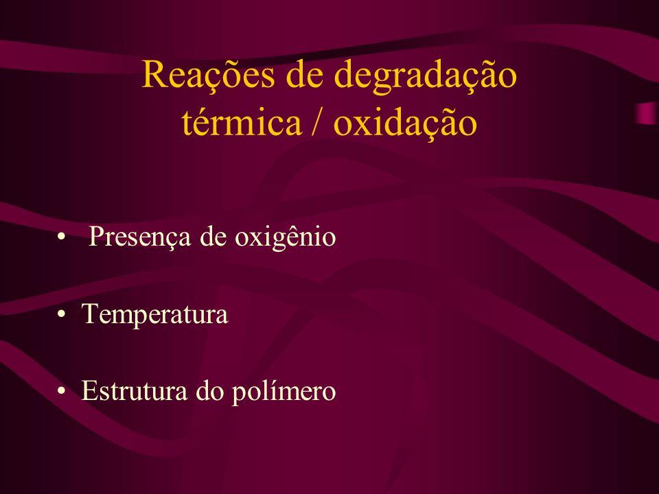 Reações de degradação térmica / oxidação