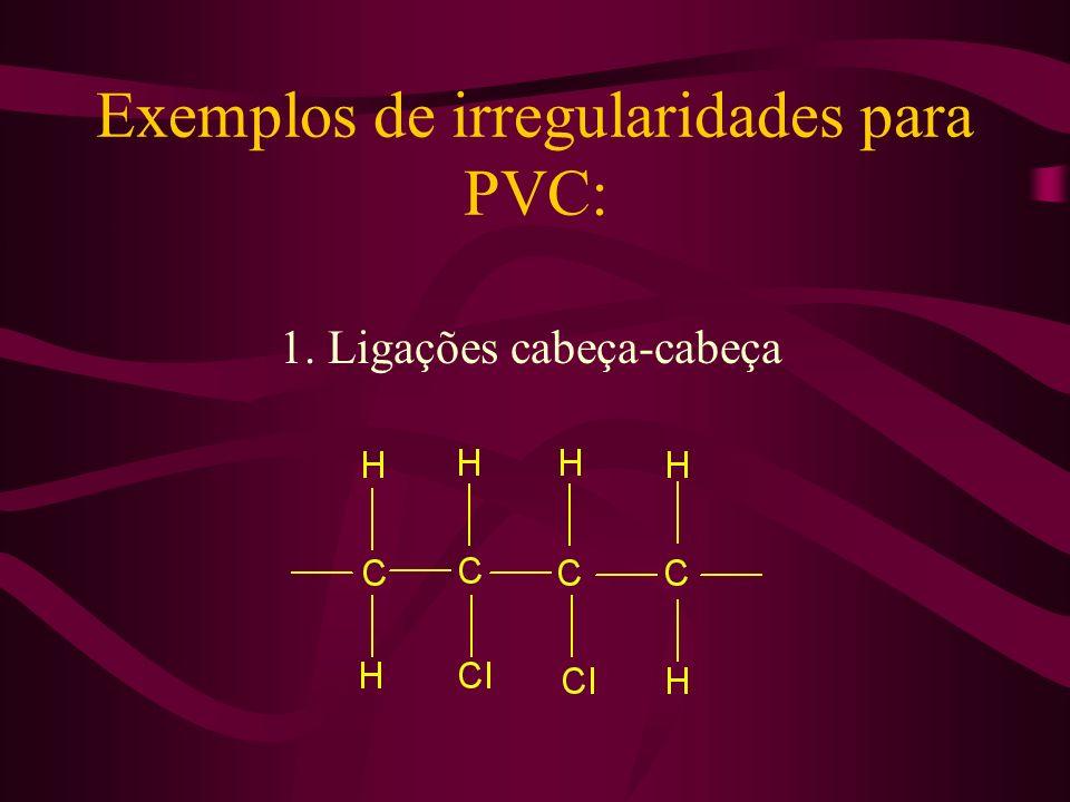 Exemplos de irregularidades para PVC:
