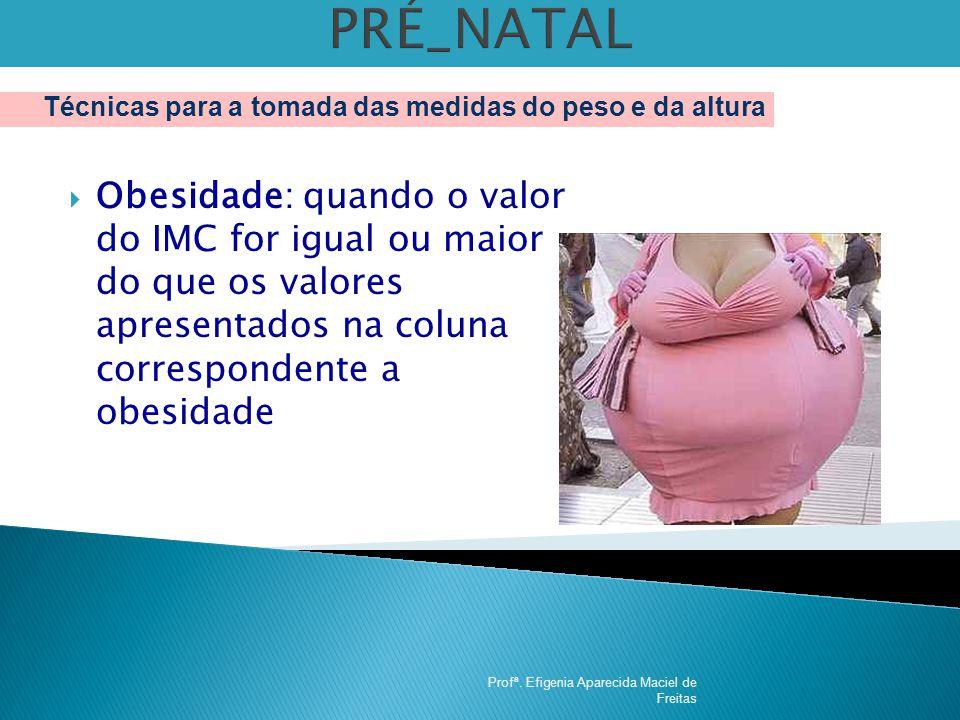 PRÉ_NATAL Técnicas para a tomada das medidas do peso e da altura.