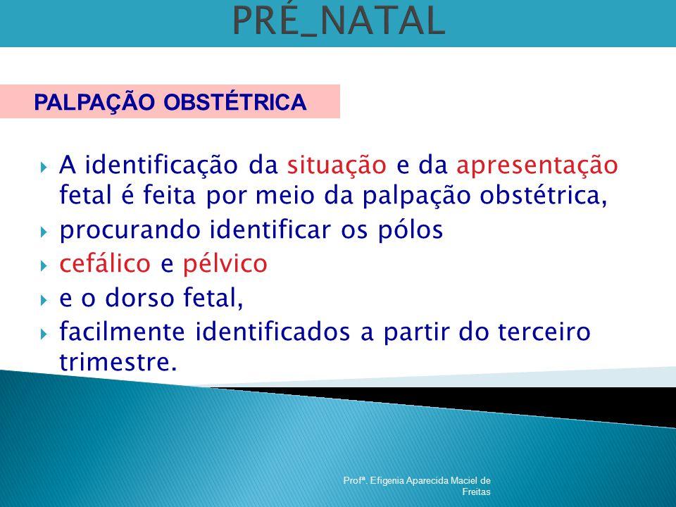 PRÉ_NATAL PALPAÇÃO OBSTÉTRICA. A identificação da situação e da apresentação fetal é feita por meio da palpação obstétrica,