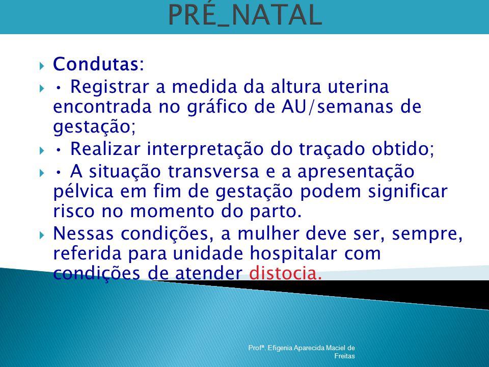 PRÉ_NATAL Condutas: • Registrar a medida da altura uterina encontrada no gráfico de AU/semanas de gestação;