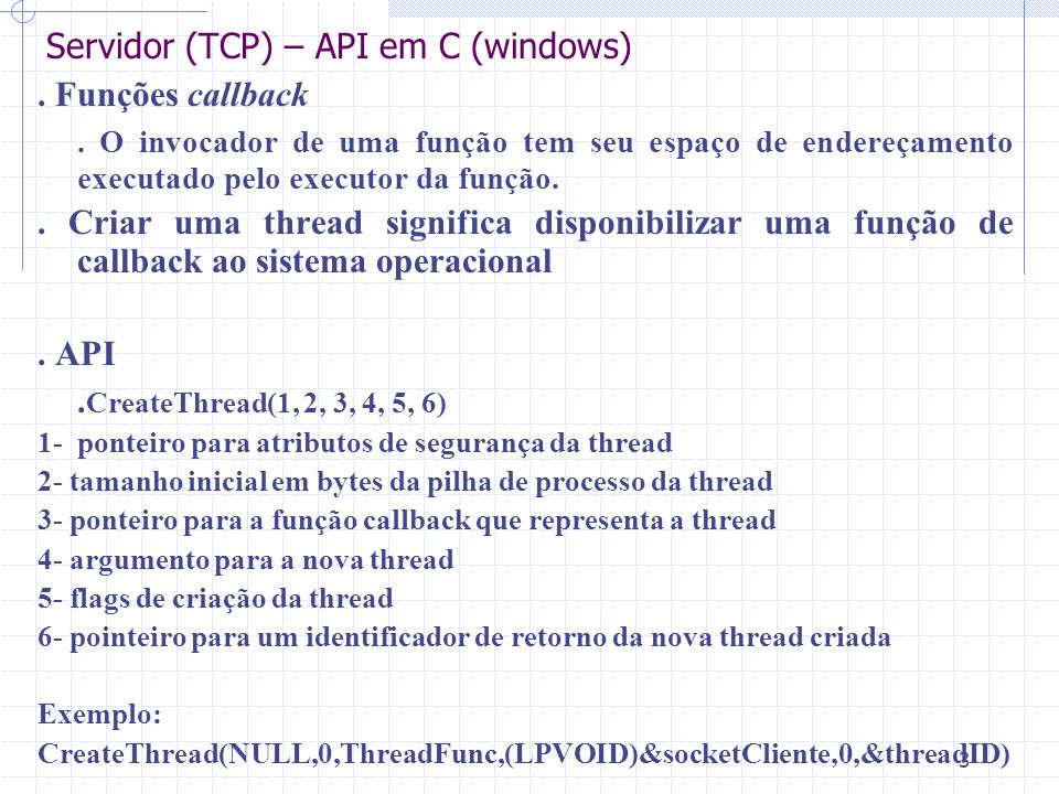 Servidor (TCP) – API em C (windows)