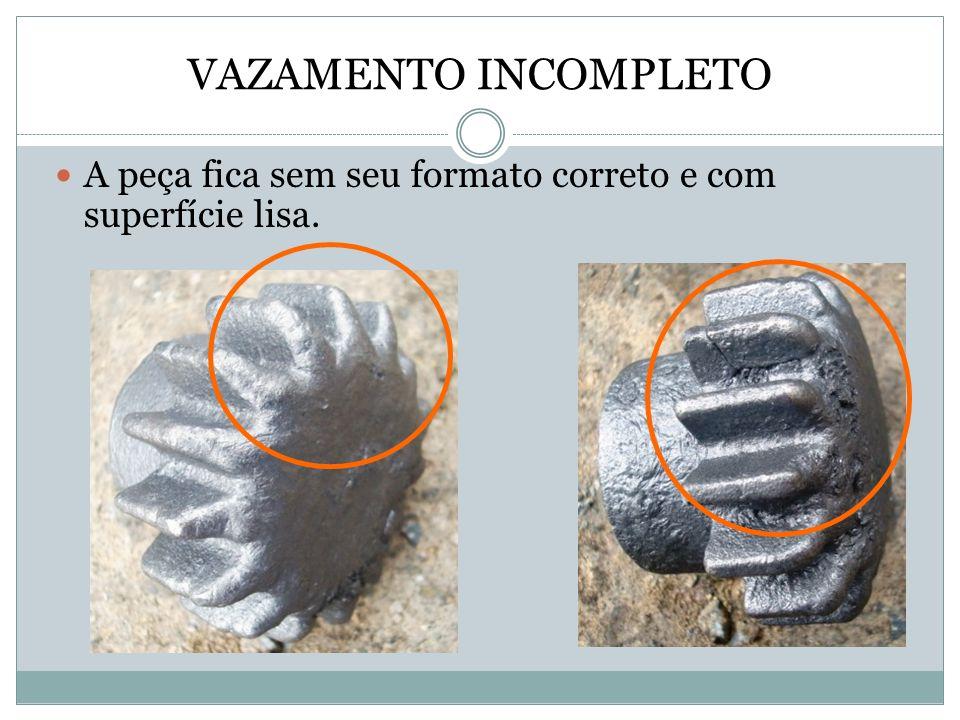 VAZAMENTO INCOMPLETO A peça fica sem seu formato correto e com superfície lisa.