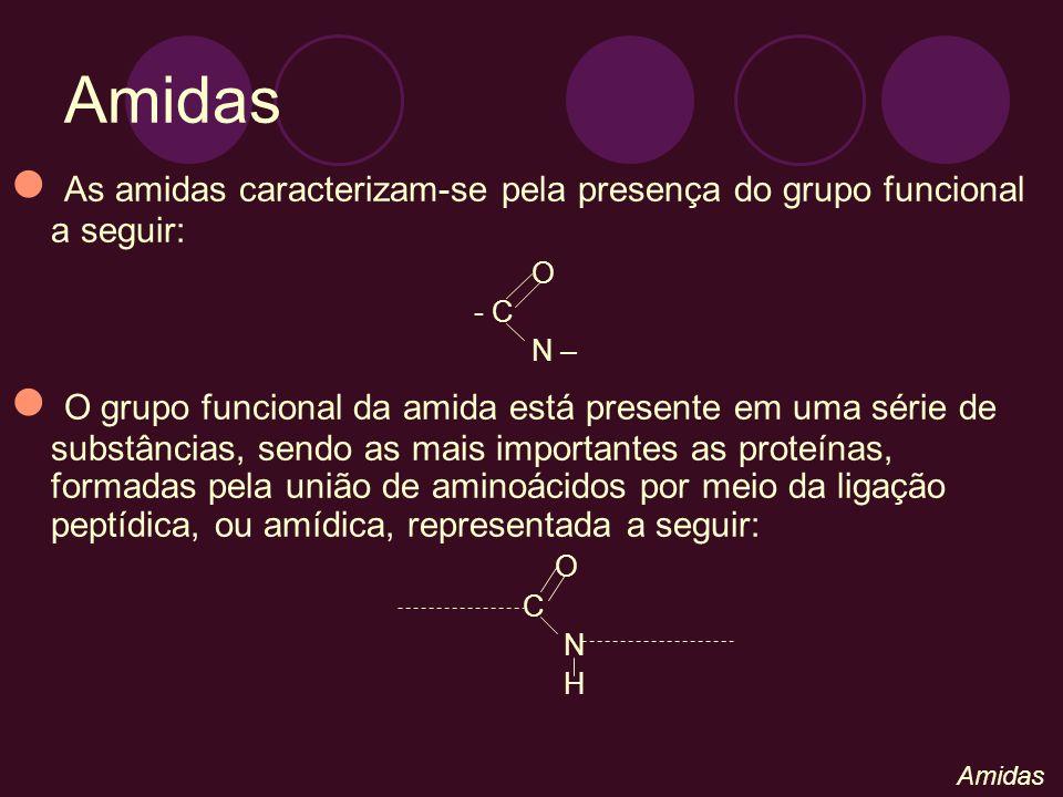 Amidas As amidas caracterizam-se pela presença do grupo funcional a seguir: O. - C. N –