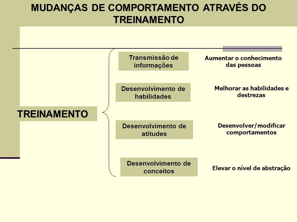MUDANÇAS DE COMPORTAMENTO ATRAVÉS DO TREINAMENTO TREINAMENTO