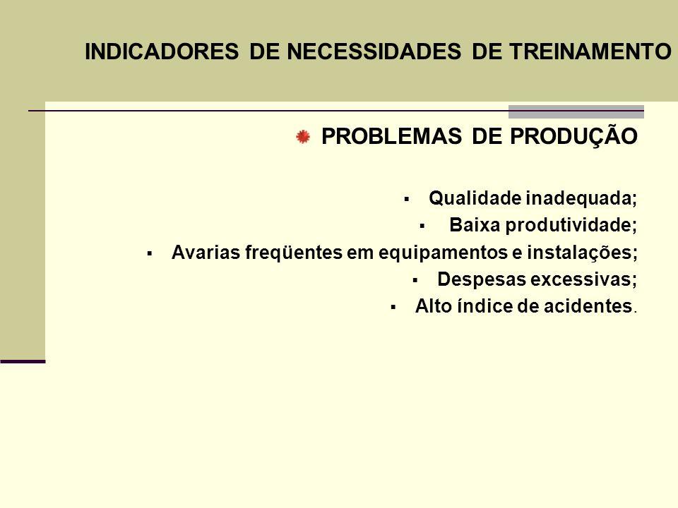 INDICADORES DE NECESSIDADES DE TREINAMENTO