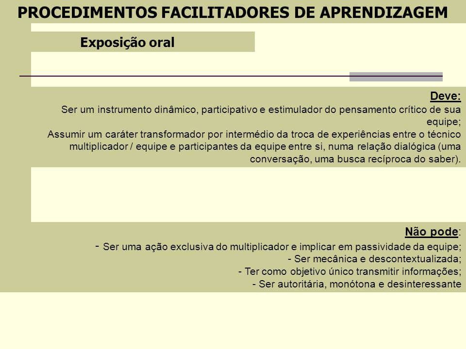 PROCEDIMENTOS FACILITADORES DE APRENDIZAGEM