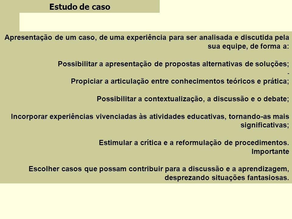 Estudo de casoApresentação de um caso, de uma experiência para ser analisada e discutida pela sua equipe, de forma a: