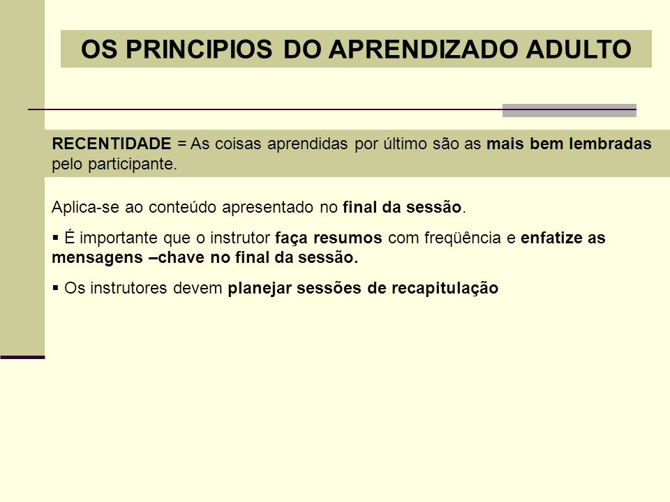 OS PRINCIPIOS DO APRENDIZADO ADULTO