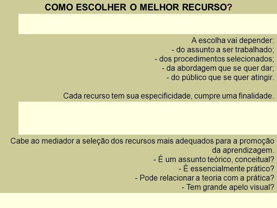 COMO ESCOLHER O MELHOR RECURSO