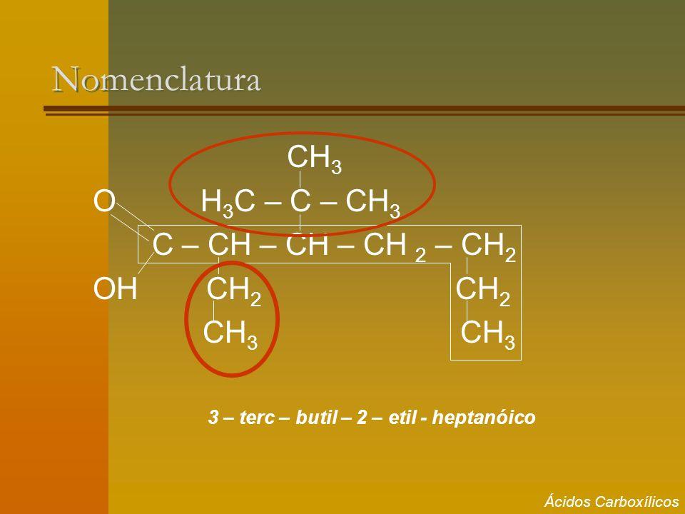 Nomenclatura CH3 O H3C – C – CH3 C – CH – CH – CH 2 – CH2 OH CH2 CH2